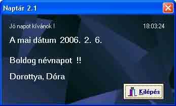 pc naptár letöltés Naptár v2.3 (magyar)   Naptár órával és névnap kijelzéssel  pc naptár letöltés